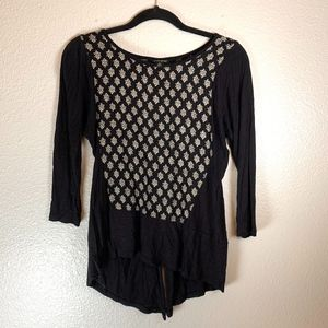 Lucky Brand 3/4 Sleeve Black and White Blouse XS